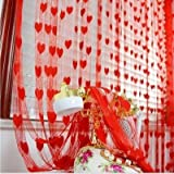 Crazy Sutra Polyester Love Heart Shape Curtain (Red, 7ft)