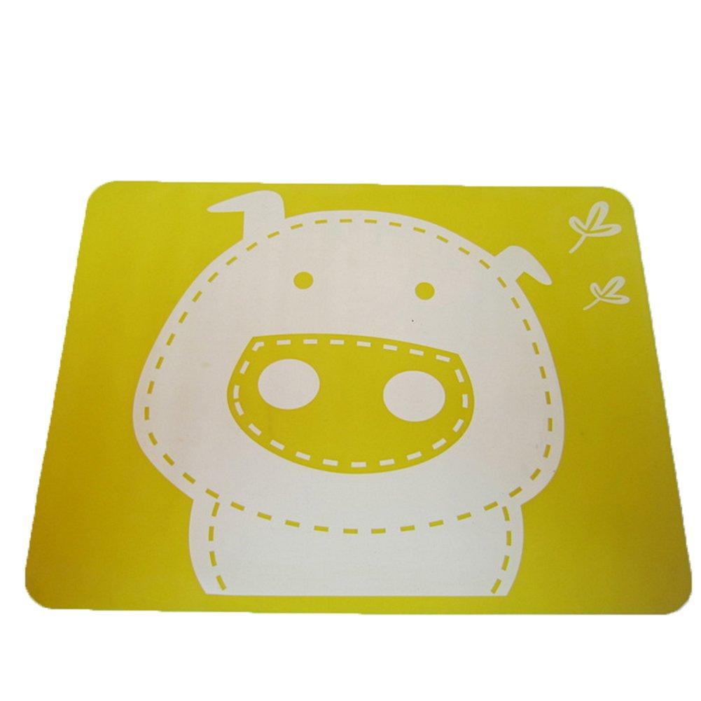 ZTL Cute Cartoon Pigパターンプレースマットテーブルマットfor Baby KidsノンスリップFoodマット イエロー AH-ZTL-MXB600H02   B072121F66