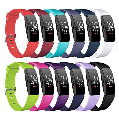Five Star Online Compatible Fitbit Inspire & Inspire HR Bands Accessories Watchbands, Silicone Replacement Wristbands for Fitbit Inspire & Inspire HR Watch for Women Men(12Pack,Small: 5.5'' -6.7'')