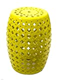 Sagebrook Home 11999-02 Ceramic Openwork Garden Stool, Yellow Ceramic, 10.25 x 13 x 17.75 Inches