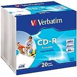 Verbatim Cd-R 80Min / 700Mb / 52X Caja Delgada (20 Discos) Datalifeplus, De Inyección De Tinta Para Imprimir, Blanca Tamano Real Do