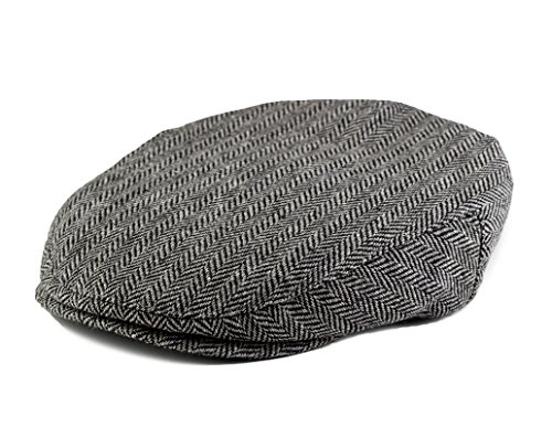Born to Love Flat Scally Cap- Boy's Tweed Page Boy Newsboy Baby Kids Driver Cap (XXL 58 cm, Grey and Black)