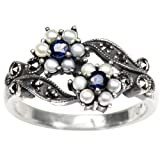 Gemini Cultured Seed Pearl Sterling Silver Ring, Sapphire - Dahlia Vintage Collection