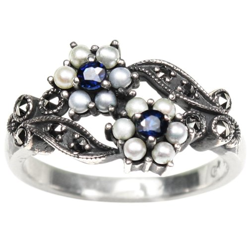 (Gemini Cultured Seed Pearl Sterling Silver Ring, Sapphire (Size 5) - Dahlia Vintage Collection)