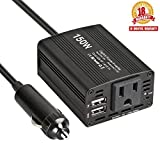 Car Power Inverter 150W DC 12V to 110v ac Car Charger Inverter with 3.1A Dual USB Charger Credit Card Size (Black)