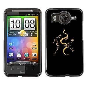 FlareStar Colour Printing Snakes Meaning Black Deep Evil Black cáscara Funda Case Caso de plástico para HTC Desire HD / inspire 4G / G10