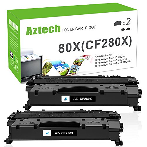 Aztech 2PK 6,900 Page Yield Compatible for HP 80X CF280X (80A CF280A) Toner Cartridge for HP Laserjet Pro 400 Toner HP M401n M401dne m401dw Toner HP Laserjet Pro 400 MFP - Hp 400 Laser Printer