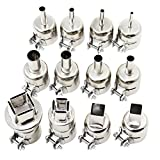 OCR 12PCS Universal Heat Gun Nozzle Hot Air Gun Heat Resisting Nozzles Tips Tool for 850 Series Hot Air Soldering Station (12PCS)