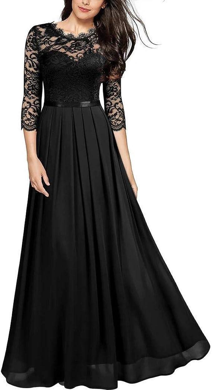 Modfine Damen Kleid Ärmellos Cocktailkleid Festlich Partykleid Elegant  Rundhals Rückenfreies Brautjungfern Kleid Lang Abendkleider Abschlusskleid