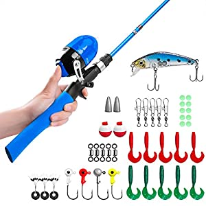 PLUSINNO Kids Fishing Pole,Telescopic Fishing Rod and Reel Combos with Spincast Fishing Reel and String with Fishing Line from PLUSINNO