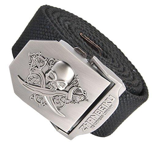 Skull Web Belt - Ayliss Men Military Thicken Canvas Web Belt,Separate Interchangable Metal Buckle (Skull-Black)