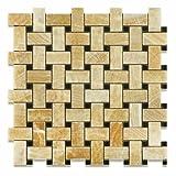 Honey Onyx Polished Basketweave Mosaic Tile w/ Black Dots - Lot of 50 sq. ft.