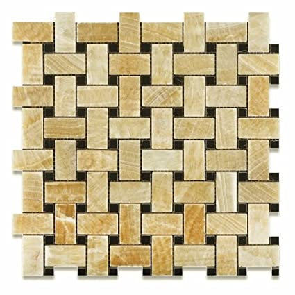 Honey Onyx Polished Basketweave Mosaic Tile W Black Dots X - 6x6 black floor tile