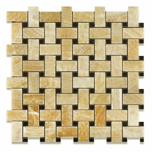 "UPC 678885027278, Honey Onyx Polished Basketweave Mosaic Tile w/ Black Dots (6"" X 6"" Sample)"