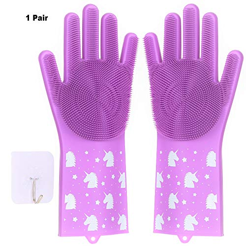 Silicone Dishwashing Gloves For Washing Dishes - 1 Pair of Unicorn Print Kitchen and Home Cleaning Scrubbing Magic Reusable Glove, Plus Self-Adhesive Hanging Hook (Purplish Pink)