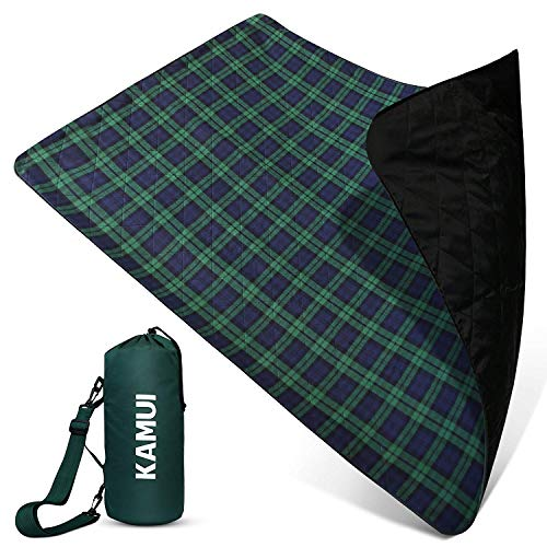KAMUI Outdoor Waterproof Blanket - Machine Washable Picnic Blanket, Waterproof and Windproof Backing, Portable Shoulder/Hand Strap Great for Festival, Park, Beach, Stadium Blanket 79X55inch 201X140cm