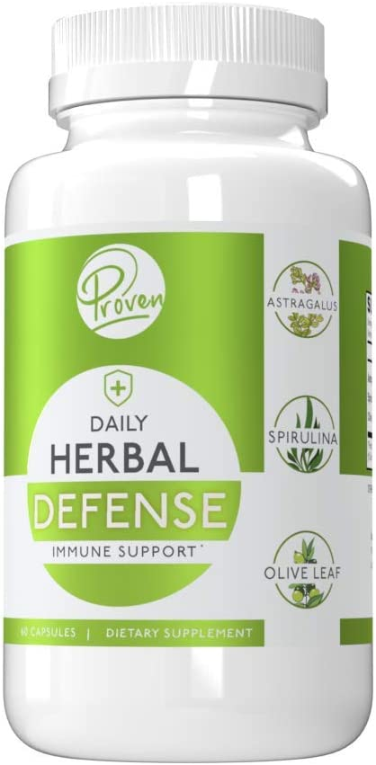 Proven Herbal Defense Immune Support – Spirulina Astragalus Olive Leaf – Promotes Overall Health and Wellbeing All Natural Antioxidant – Month Supply 30 Servings in 60 Capsules