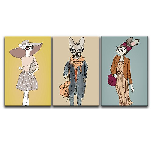 3 Panel Animal Hand Drawing Cartoon Rabbits and Kangroo x 3 Panels