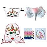 Unicorn Gifts for Girls – Unicorn Drawstring Backpack/Makeup Bag/Eye Mask/Hair Ties/Card (White Christmas Unicorn) Review