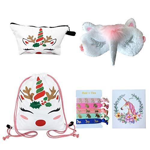 Unicorn Gifts for Girls – Unicorn Drawstring Backpack/Makeup Bag/Eye Mask/Hair Ties/Card (White Christmas Unicorn) Review