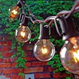 iLoving Patio Lights, Plug in Outdoor Globe Hanging String Lights, Waterproof Decorative Lights for Bedroom, Porch, Garden, Backyard, Parties, Wedding, Festival - 25foot G40 Black