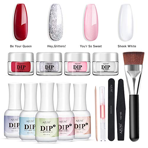 Nail Dip Powder Starter Kit 4 Colors(1oz.),Acrylic Dip Powders System for French Nail (Comes with Bond,Base,Activator,Top,Brush Saver,4 Powder Jars + Some Manicure Tools)