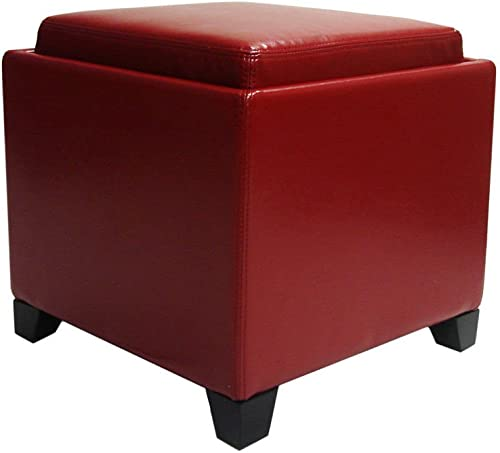 Armen Living LC530OTLERE Contemporary Storage Red Ottoman With Tray