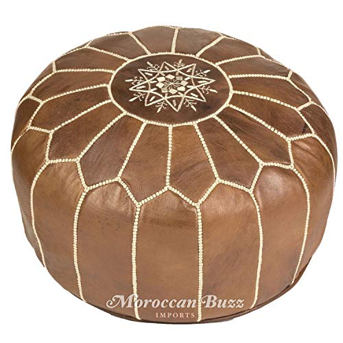 Moroccan Buzz UNSTUFFED Premium Leather Pouf Ottoman Cover, Natural Brown (UNSTUFFED Pouf)