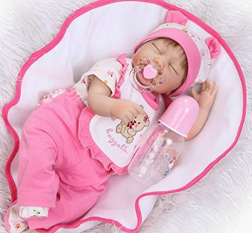 Pinky 17 Inch 43cm Reborn Baby Dolls Girl Lifelike Realistic Looking Sleeping Soft Body Silicone Doll Vinyl Toddler Eyes Closed Xmas Gift