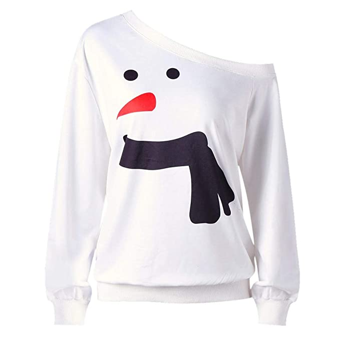 baskuwish Top, Women Plus Size Shirt Snowman Print Long ...