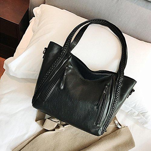 Cuir Pliable PU Sac Leisure Sac De Mesdames Black Bandoulière Doux Rangement Capacité Shopping Haute Womens à x081qw4AAY