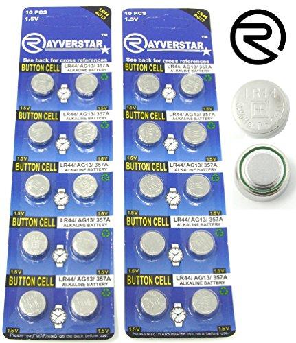 Loose Battery Cells - Rayverstar LR44 AG13 1.55 Volt Alkaline Battery, 20 Batteries. Fits: A76, L1154F, L1154, 357A, 157, 303/357, SR44, SR44SW, EPX76, PX76, PX76A, Hexbug Compatible