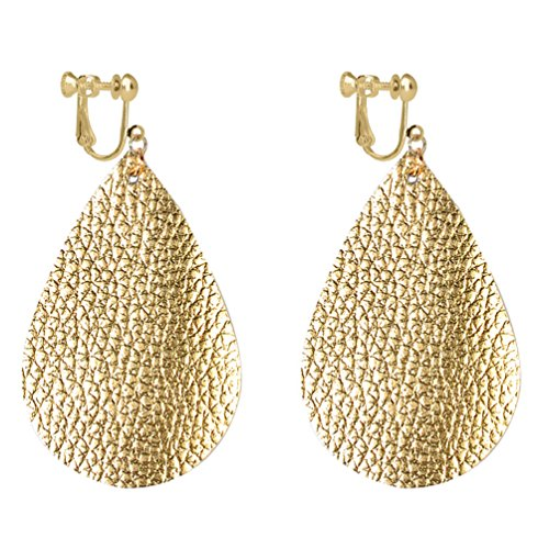 Teardrop Faux Leather Clip on Earrings Dangle Big Drop Antique Looking Handmade Fashion for Women Yellow