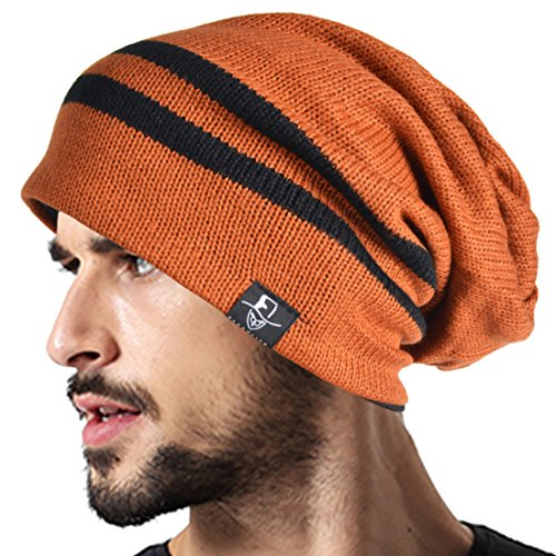 VECRY Men's Cool Cotton Beanie Slouch Skull Cap Long Baggy Hip-hop Winter Summer Hat B305 (Stripe-Rust) ()