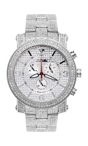 Two Row Diamond Watch (NEW! Aqua Master Men's Power Two-Row Diamond Watch with Diamond-Cut Dial & Full Diamond Case, 7.75 ctw)