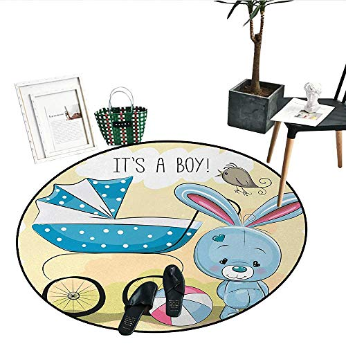 Gender Reveal Round Small Door Mat Cute Bunny Baby Carriage and Ball Its Boy Message Kids Design Circle Rugs for Living Room (24