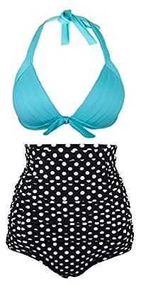 Angerella Women Retro Vintage Polka Floral High Waisted Bikini Swimsuits