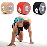 3 Rolls Kinesiology Tape - Elastic Medical Athletic Cloth Tape,2'' x 16.4 Foot Waterproof Muscle Pain Relief Sport equipment for Cross Fit, Boxing, Weight Training, Running, Tennis, Swimming, Cycling