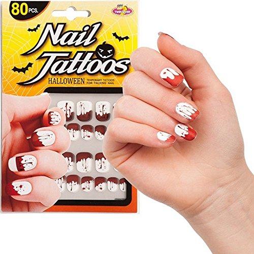 Faux ongle ongles sang 80pcs autocollant - Halloween deguisement -691