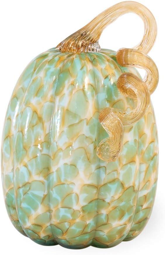 Boston International Decorative Handblown Glass Pumpkin Figurine, 5 x 8.5-Inches, Green and Gold