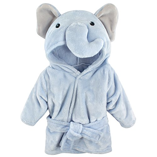 Hudson Baby Unisex Baby Plush Animal Face Robe, Blue Elephant, One Size