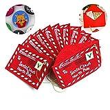 Koogel 10 Pcs Santa Claus Gift Money Card Holders with Envelopes Christmas Ornament Decor
