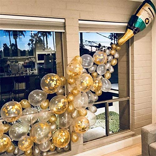 [해외]Hen Party Decorations Champagne Bottle Balloons Party Supplies 40 PCS Pearl White and Gold Latex Balloons for Bridal Party Happy Birthday Engagement Wedding Celebration (40 Pieces) / Hen Party Decorations Champagne Bottle Balloons ...