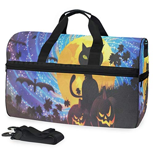 Gym Bag Halloween Party With Cat Sport Travel Duffel Bag with Shoes Compartment Large Capacity for Men/Women
