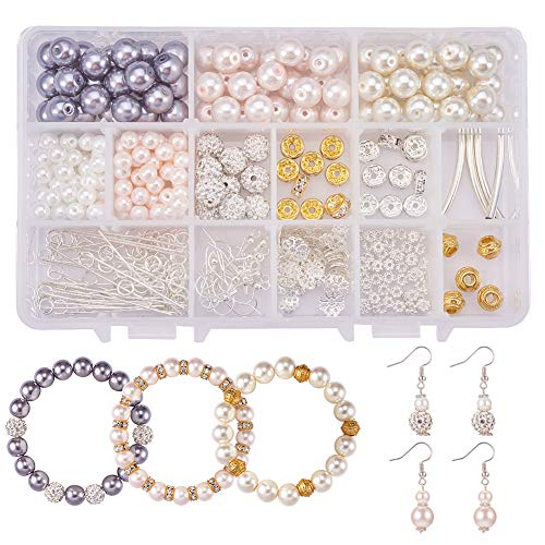 SUNNYCLUE 1 Box 300+ pcs 6mm/10mm Round Glass Pearl Beads Assortment Lot with Spacer Bead Caps Jump Rings Earring Hooks Elastic Wire Jewelry Finding Set for DIY Jewelry Charm Bracelet Earrings Making