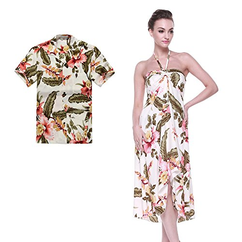 Couple Matching Hawaiian Luau Party Outfit Set Shirt Dress in Cream Rafelsia Men L Women -