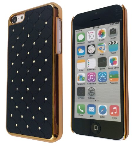 Luxus-Designer Quilted Diamane Bling-Stil iphone 5C Hard Hülle Case Back Cover-Gold
