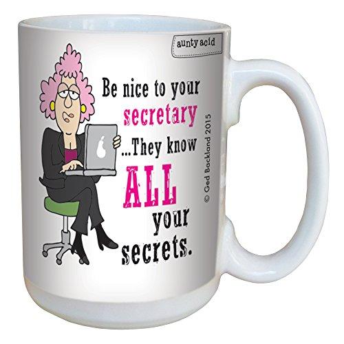 Tree-Free Greetings 15-Ounce Ceramic Mug with Full-Sized Handle, Aunty Acid Nice To Secretary (LM46560)