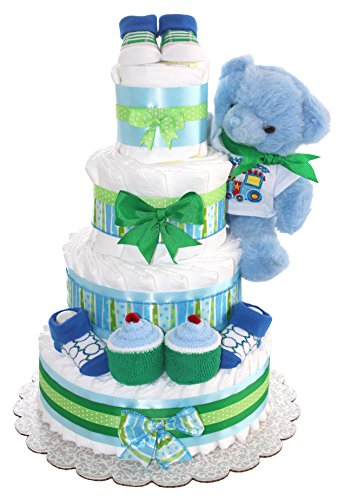 Blue Teddy Bear Diaper Cake For Girl Or Boy 4Tier - Unique Baby Gift For Baby Shower - Practical Newborn Present For Mom - To - Be (Blue) by QBabyShowering