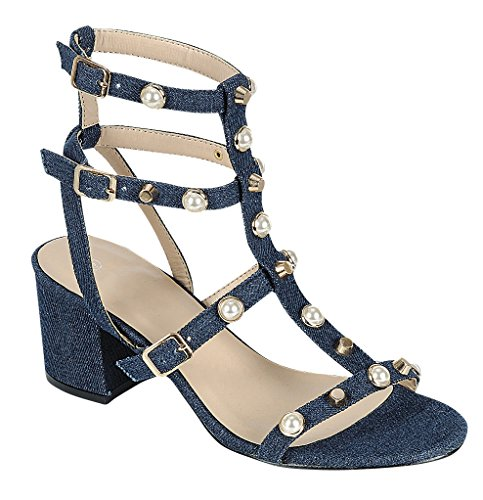 Cambridge Select Mujeres Tobillera Strappy Caged Gladiator Open Toe Studded Faux Pearl Block Sandalia De Tacón De Mezclilla